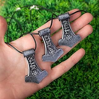 Ascia runica con nome personalizzato in resina, Elder Futhark rune, collana medievale vichinga, martello di thor, ciondolo...