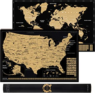 2 in 1 Gift Set - Scratch Off World Map and Scratch Off US Map - Easy to Frame Scratchable World and United States of Amer...