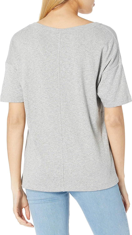 Amazon Brand - Daily Ritual Women's Oversized Cotton Modal Stretch Slub Short-Sleeve V-Neck Pocket T-Shirt