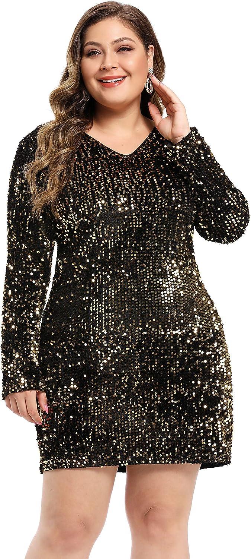 LLmansha Women's Plus Size Glitter V-Neck Long Sleeve Bodycon Sequin Cocktail Party Club Sparkly Evening Mini Dress