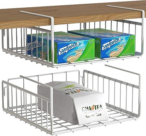 wholesale 2 Pack - high quality Simple Houseware Under online Shelf Basket, White online sale