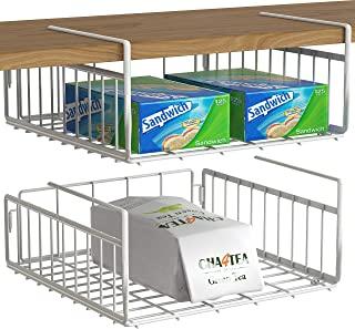 Simple Houseware 2 Pack Under Shelf Basket, White