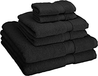 Superior 900 GSM Luxury Bathroom 6-Piece Towel Set, Made Long-Staple Combed Cotton, 2 Hotel & Spa Quality Washcloths, 2 Hand Towels, and 2 Bath Towels - Black
