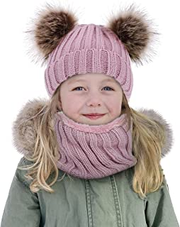 Simplicity Kids Cute Pom Pom Winter Beanie Hat and Scarf Set for Boys Girls Kids Knitted Fleece Lined Skull Scarf Set