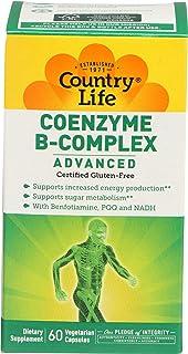 Country Life Coenzyme B-Complex Advanced B Vitamins B1, B2, B6, B12, Niacin, Biotin & Methylfolate with Benfotiamine, PQQ ...