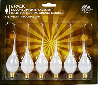 Holiday Joy - Silicone Dipped Candelabra Replacement Bulbs - Great for Electric Window Candle Lamps - C7 - E12-7 Watt - 120 Volts (6 Pack)