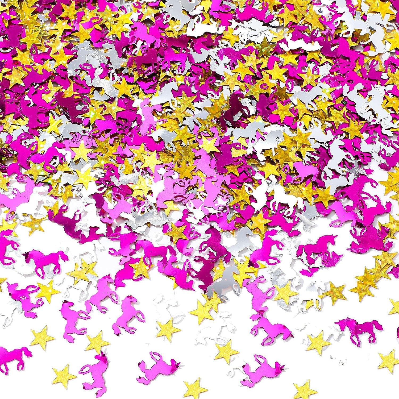 Confeti de Unicornio de 2,1 oz 60 g Confeti de Estrella de 0,4 Pulgadas Decoración de Confeti de Mesa con Purpurina Decoración de Fiesta de Estrella Unicornio Colorida, Aprox. 2200 Piezas