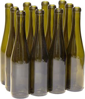 North Mountain Supply 375ml Antique Green Glass Stretch Hock Wine Bottle Flat-Bottomed Cork Finish - Case of 12
