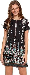 Women's Bohemian Aztec Print Ethnic Style Summer Tribal Shift Mini Dress