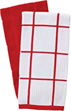 T-fal Textiles Solid Color Parquet Design 100% Cotton Kitchen Dish Towel, Red, 2 Pack