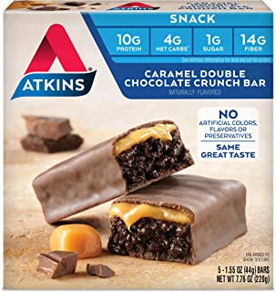 Atkins Caramel Double Chocolate Crunch Bars. Rich and Decadent Treat with Low Sugar and Net Carbs. Great Source of Protein and Fiber. 1.55 oz per Bar (5 Bars)