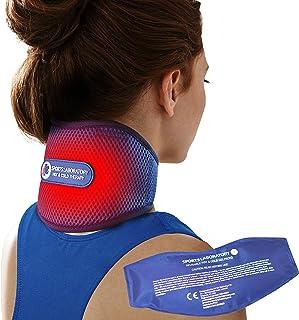 Sports Laboratory Nackstödsstöd PRO+ för nacksmärta med integrerat paket med varm och kall terapi, justerbar halskrage, fr...