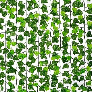 CEWOR 126ft 16pcs Artificial Ivy Garland Vine Green Leaf Plant Fake Hanging Leaf Plant Vine for Wedding Party Home Garden ...