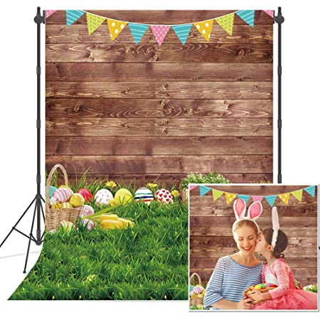9x6ft Interior Easter Photography Backdrops Cute Paper-Cut Bunny Eggs Baskets Big Bird Nest Wood Floor Backgroud Baby Shower Children Portraits Studio Photo Shooting Props