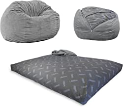 CordaRoy's Chenille Bean Bag Chair, Convertible Chair Folds from Bean Bag to Bed, As Seen on Shark Tank, Charcoal - Full Size