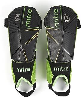 Mitre Delta Ankle Protect Soccer Shin Guard, Black/Green/Yellow, Medium