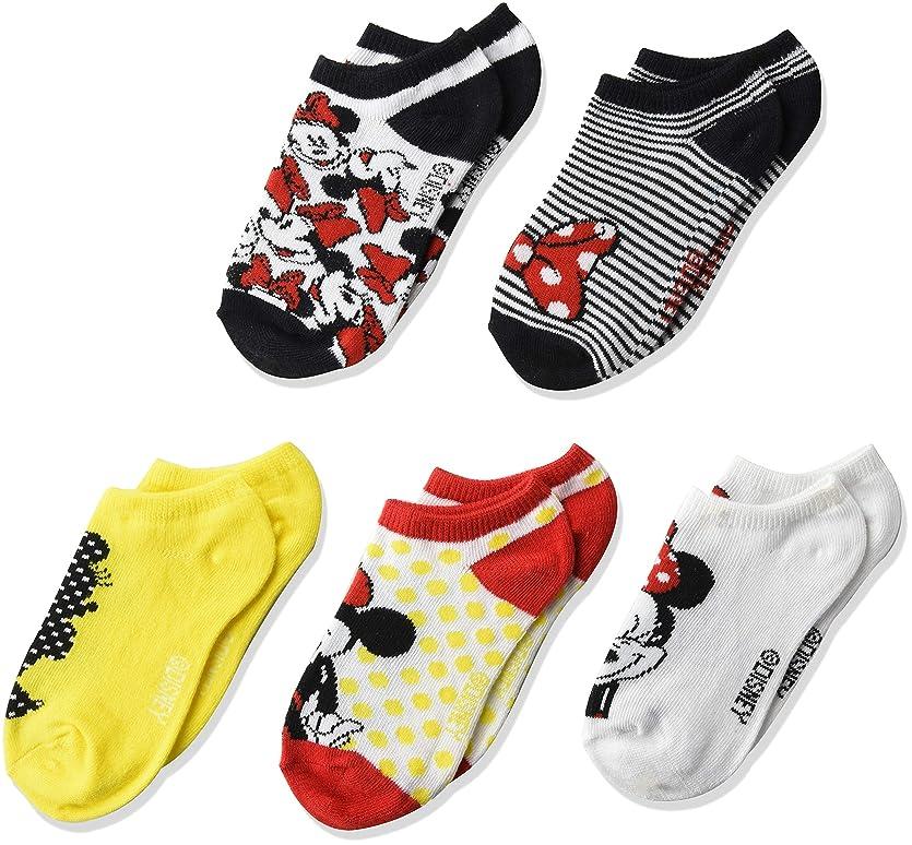 感情のホストライナーDisney Minnie Mouseガールズレトロ5?pk No Show Socks