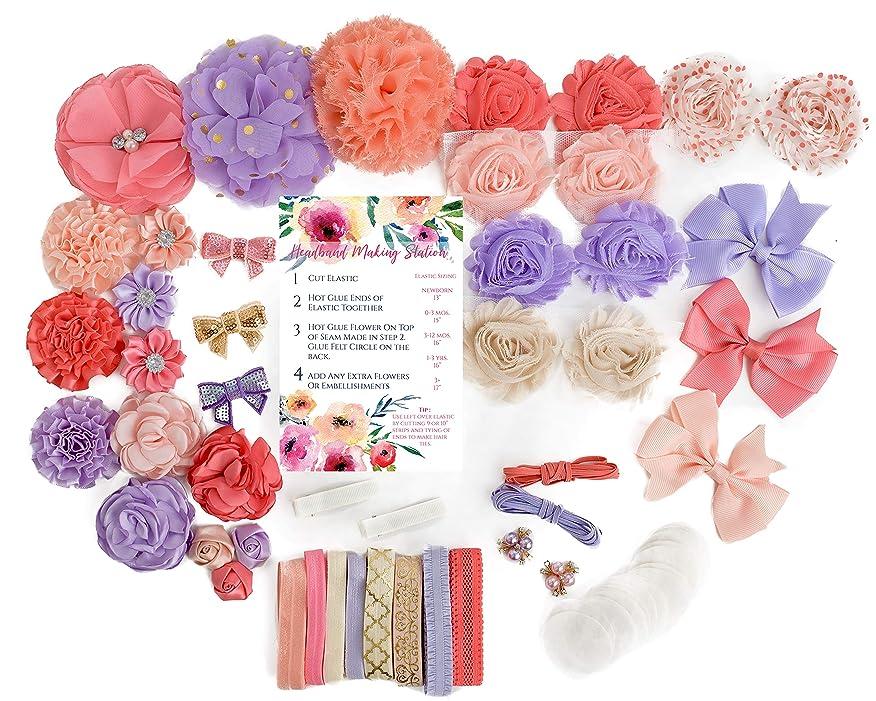 Tangerine Dream : DIY Fashion Headband Making Kit | Makes 22+ Hair Accessories for Baby Shower Newborn Infant Toddler Tween Hair Accessories | Bright Coral, Lavender, Peach, Cream ifilaoewqav387