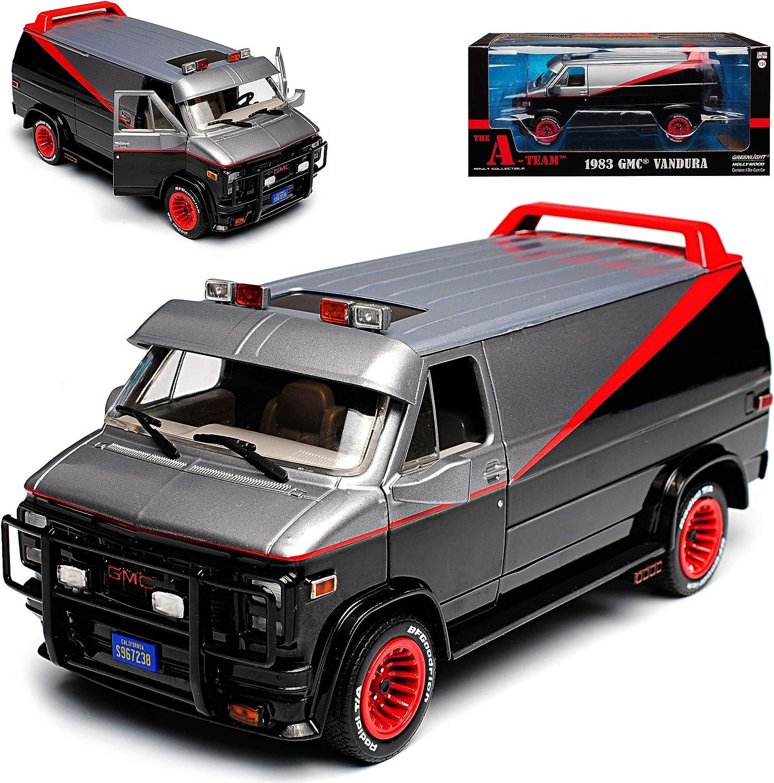 Greenlight Gmc Vandura The A Team Schwarz Mit Rot 1968 1996 1 24 Modell Auto Spielzeug