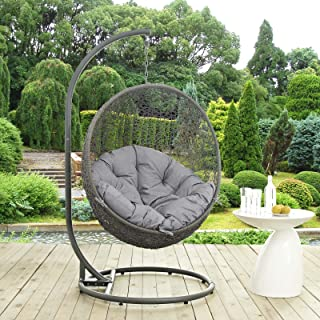 Modway EEI-2273-GRY-GRY Hide Wicker Outdoor Patio Swing Egg Chair Set with Stand, Gray