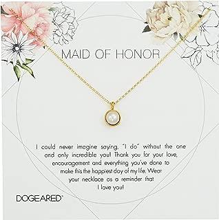 Maid of Honor Flower Card Large Bezel Pearl Pendant Chain Neckalce, 16