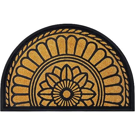 "MIBAO Half Round Door Mat, Non-Slip Welcome Entrance Way Rug, Durable Rubber Door Mats, Low-Profile Heavy Duty Doormat, Half Circle Rugs for Garage, Patio, High Traffic Areas, 24"" x 36"", Yellow"
