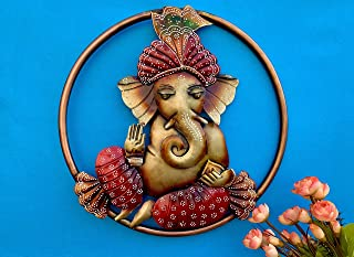 Maple Craft Round Metal Lord Krishna Wall Mounted & Hanging Art Decor Playing Flute Idol Sculpture for Home Office Living ...