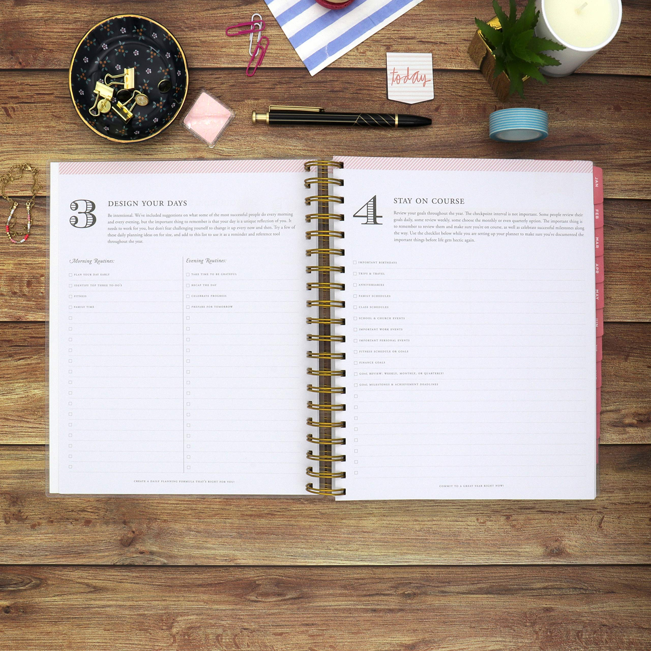 Navy Stripe Day Designer for Blue Sky 2020 Daily /& Monthly Planner Frosted Flexible Cover 8 x 10 Twin-Wire Binding