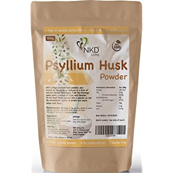Psyllium Husk Powder by NKD Living (500g) | Tested for Heavy Metals, Micro-Organisms and Over 500 Pesticides (500g)
