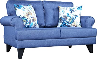 HomeTown Paddington Plus Fabric Two Seater Sofa in Blue Color