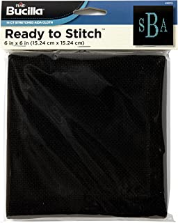 Bucilla Ready To Stitch Aida Cloth, 6 by 6-Inch, 49013 Black