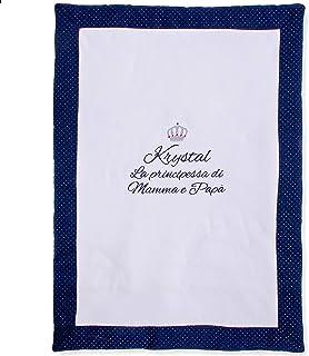 Copertina per neonati da personalizzare - Copertina nascita con ricamo disegno, nome, frase personalizzabile e cornice blu...
