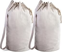 Canvas Duffel Bag - Drawstring with Leather Closure and Shoulder Strap for Easy Carrying. The Strong Canvas Material Makes...