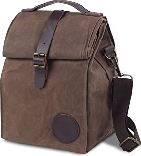 Insulated Waxed Canvas Lunch Bag by ASEBBO, Lunch Box for Women, Men with Genuine Leather Handle and Strong Buckle-Closure to Keep Your Food Cool, Lunch Tote with Adjustable Strap (Brown)