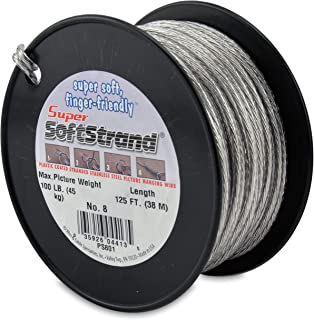 SuperSoftstrand Size 8-125-Feet Picture Wire Vinyl Coated Stranded Stainless Steel