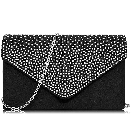 8606f0fdf7f Milisente Women Clutch Bag Classic Satin Clutch Purse Glitter Rhinestone Evening  Bags (Black)