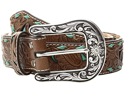 M&F Western Turquoise Underlay Floral Belt (Brown/Turquoise) Women