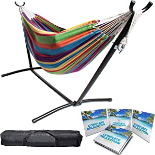 "BACKYARD EXPRESSIONS PATIO · HOME · GARDEN 914922 Two Person Hammock with Stand + Relaxing Audio Track and Luxury Carrying Case, 106"" L x 47"" W x 43"" H, Caribbean Rainbow"