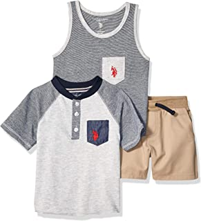 U.S. Polo Assn. Boys 3 Piece Short Sleeve Henley T-Shirt, Tank Top, and Short Set Shorts Set