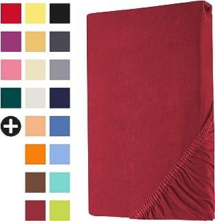 Heim24h® Drap-Housse revêtement Matelas Bordeaux 140x200-160x200 cm d'une Hauteur de 18 à 30 cm 100% Coton Qualité Supérie...