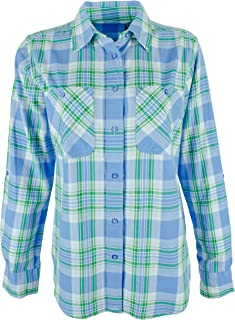 LAUREN RALPH LAUREN Women's Petite Plaid Roll-Tab Button Down Shirt