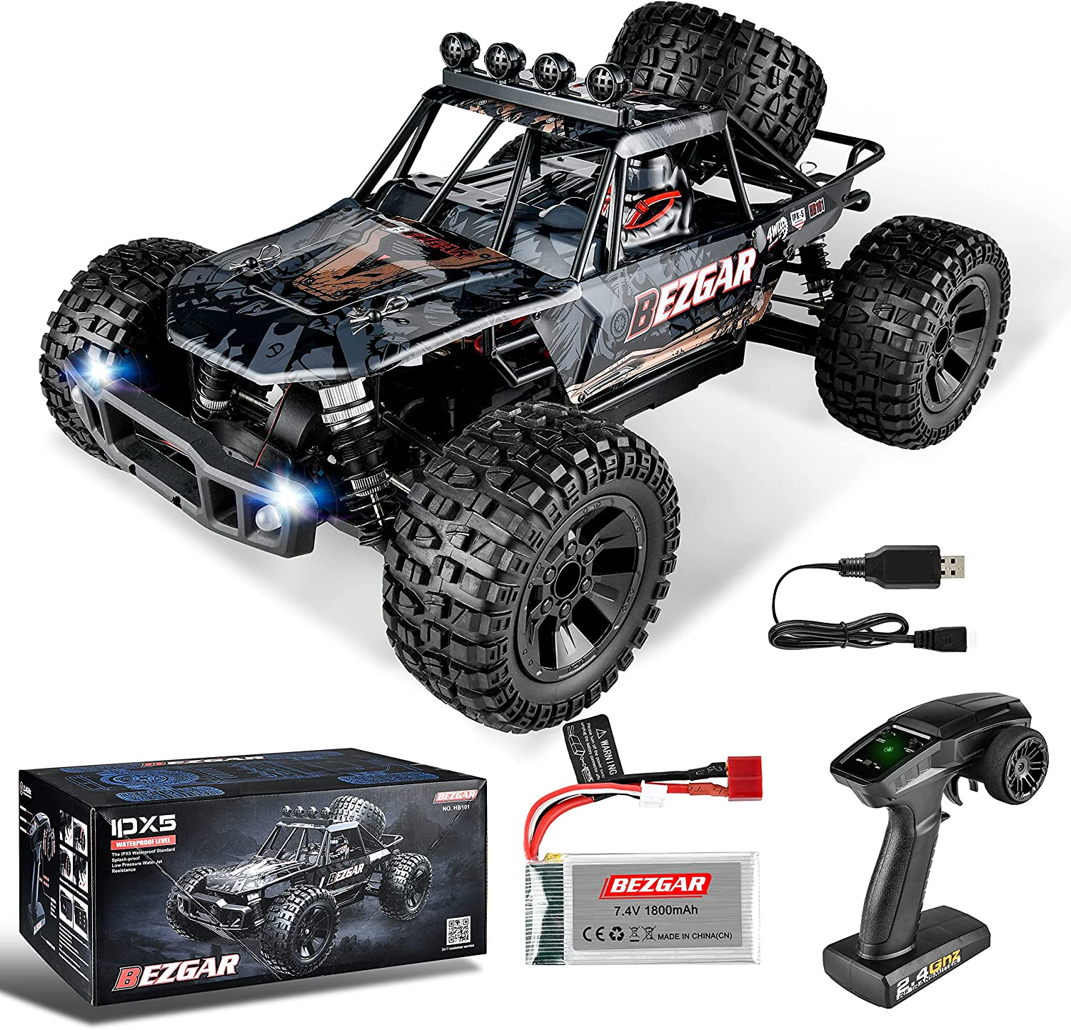 BEZGAR HB101 1:10 Scale Beginner RC High h Cheap 48km Truck 4WD Speed Limited time sale