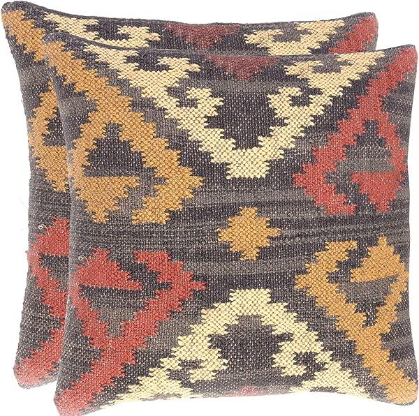 2 Set Of Hand Woven Jute Kilim Cushion Cover Indian Vintage Pillows 18X18 Rug Boho Shams