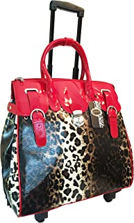 Trendy Flyer Computer/laptop Large Bag Tote Duffel Rolling 4 Wheel Spinner Luggage Leopard Red