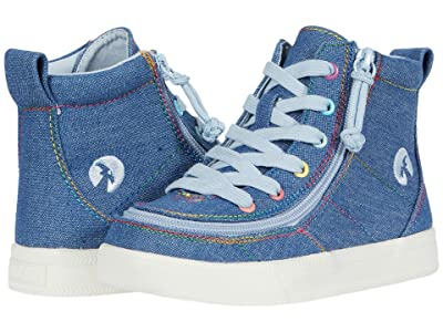 BILLY Footwear Kids Classic Lace High (Toddler) (Denim Rainbow Thread) Girl
