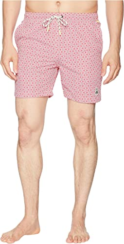 Linear Floral Print Swim Trunks