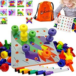 Skoolzy Toddler Educational Toys - Peg Puzzles Toddler Toys for Kids Ages 1yr - 4yr. Stacking Pegboard Creative Art for 1, 2, 3, 4 Year Old Boys or Girls | 45pc Peg Board, Pens Cards