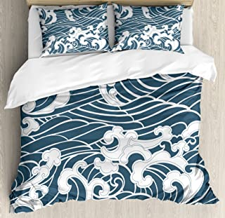 Ambesonne Japanese Wave Duvet Cover Set Queen Size, Hand Drawn Traditional Style Aquatic Doodle River Storm Retro Abstract, Decorative 3 Piece Bedding Set with 2 Pillow Shams, Slate Blue