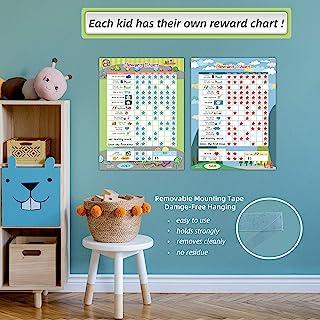 "Bahavior Chart for Kid at Home, Chore Chart for Kid, Reward Chart for Kids Behavior. 11"" x 14.5"" - 2 Pack Blue/Green"