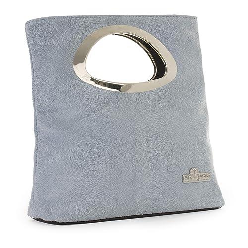 a4732fdf66b4 LIATALIA Plain Italian Suede Leather Top Handle Small Foldable Evening Purse  Clutch Bag - RHEA
